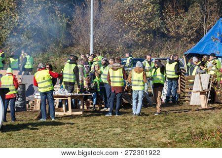 Guipavas, France - November 24, 2018 : Demonstrators Called Yellow Vests During A Demonstration Agai
