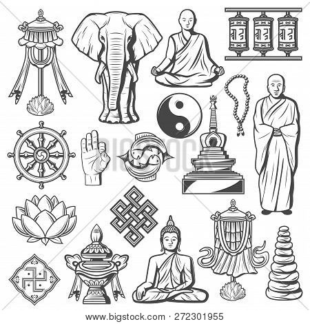 Buddhism Religion Icons And Signs Isolated. Lotus And Rosary, Elephant, Fingers Showing Ok, Buddha I