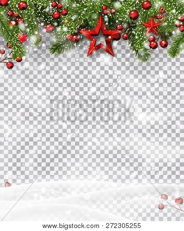 Christmas And New Year Poster With Green Fir Branches, Holly Ber