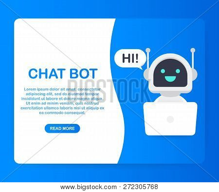 Chat Bot Using Laptop Computer, Robot Virtual Assistance Of Website Or Mobile Applications. Voice Su