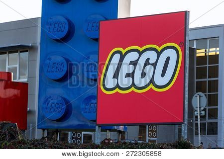 Kladno, Czech Republic - December 4 2018: Giant Lego Bricks In Front Of The Lego Group Company Logo