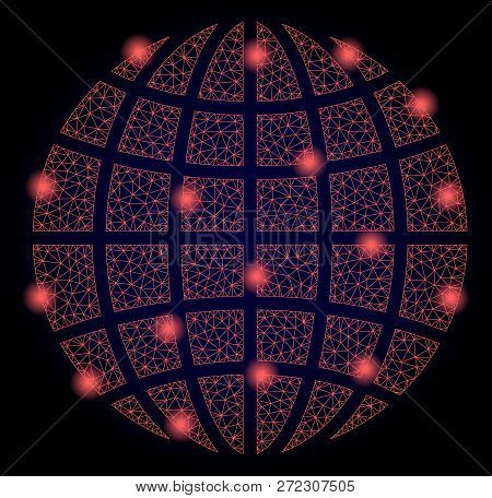 Mesh Vector Globe With Glare Effect. Red Abstract Lines, Light Spots And Points On A Dark Background