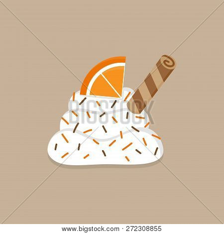 Christmas, Autumn Whipped Cream Vector Illustration Icon. Cute Decorated Dollop Of Cream With Sprink
