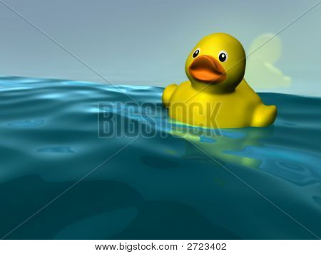 Plastic Yellow Duckie Floating In Water. The Duck Is Reflecting On The Wall Behind Him