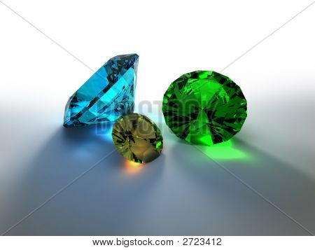 Precious Stones 3D Render. Shadows And Caustic Effects Are Used.
