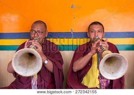 Lamayuru, India - June 21, 2017: Yuru Kabgyat Buddhist festival at Lamayuru Gompa, Ladakh. Lamayuru monastery festival is a Buddhist ceremony with tantric mask dancing performed by the lamas monks.