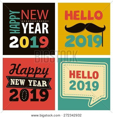 Pop Art Design Happy New Year 2019 Celebration For Element Design. Fun Concept Design Vector Happy N
