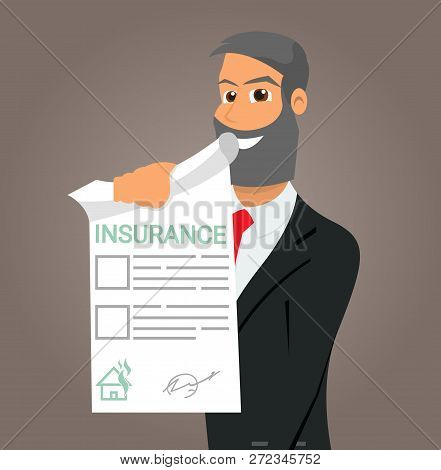 Vector Illustration Cartoon Property Insurance. Smiling Insurance Agent Holds In His Hand An Insuran