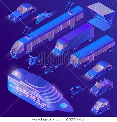 Set Of Isometric Violet Urban Public Transport For Passenger Transportation. Private Cars, Cruise Li