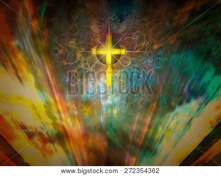 Faith in God. Christian cross in colorful rays of light. 3D rendering