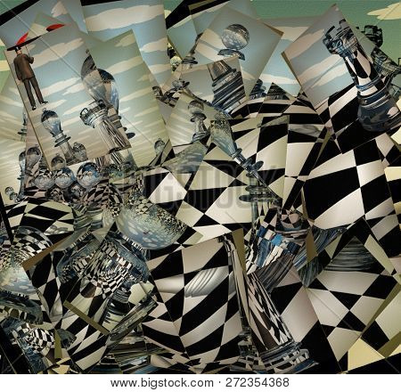 Surreal Chess Landscape. Man flies with red umbrella. 3D rendering