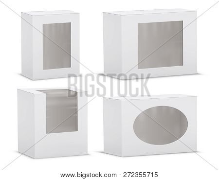 Set Of Realistic Empty Cardboard Boxes With Transparent Windows Isolated On Background. Clipart With