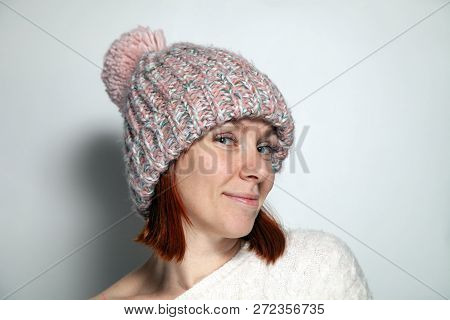 Isolated Portrait Beautiful Young Redhead Girl Green Eyes White Sweater And Pink Knitted Hat With Po