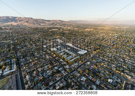Aerial view of homes and streets near Lassen St and Mason Ave in the Chatsworth neighborhood of Los Angeles, California.