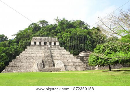 Temple of the Inscriptions - stepped pyramid structure at the pre-Columbian Maya civilization, Palenque, Chiapas, Mexico. UNESCO world heritage site