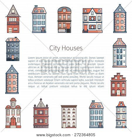 Vector Illustration With Background Of Flat Cartoon Line Houses. City, Town Design. Urban Landscape