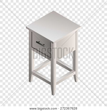 White Night Stand Icon. Isometric Of White Night Stand Vector Icon For Web Design
