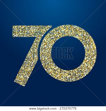 70 Th Years Old Logotype. Isolated Golden Color Abstract Dot Graphic Symbol Of 70%. Shiny Straight E