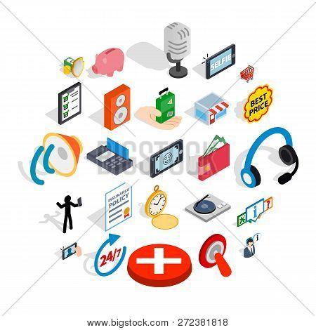 Global Communication Icons Set. Isometric Set Of 25 Global Communication Icons For Web Isolated On W
