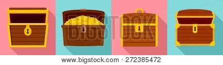 Dower Chest Icon Set. Flat Set Of Dower Chest Icons For Web Design