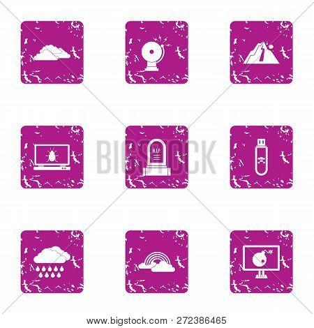 Caution Icons Set. Grunge Set Of 9 Caution Icons For Web Isolated On White Background