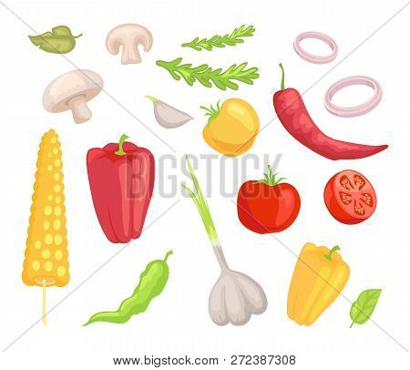 Vegetables Veggies Isolated Icons Set Vector. Herbs And Leaves Mushroom Pepper Paprika And Corn. Tom
