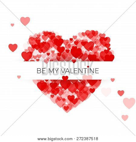 Happy Valentine`s Day Greeting Card Cover Template. Heart Frame With Label. Heart Consisting Of A Mu