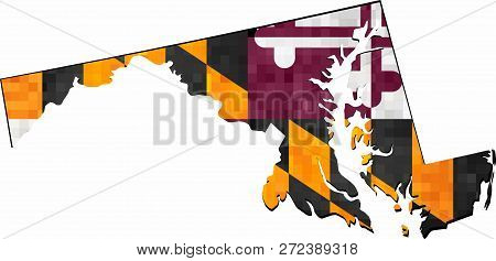 Grunge Maryland Map With Flag Inside - Illustration,  Map Of Maryland Vector,   Abstract Grunge Mosa