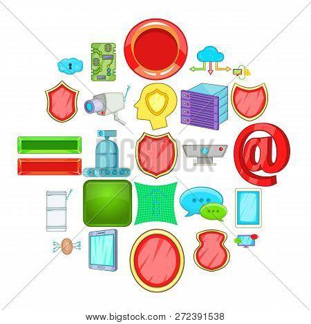 Encoding Icons Set. Cartoon Set Of 25 Encoding Icons For Web Isolated On White Background