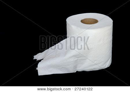 A roll of toilet paper in a wood cabin awaits to meet its doom.