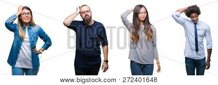 Collage of group of young business people over isolated background confuse and wonder about question. Uncertain with doubt, thinking with hand on head. Pensive concept.