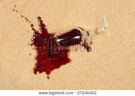 A glass of spilled wine on brand new carpet will leave a stain.