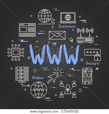 Vector Linear Round Concept Of Www Internet. Thin Line Icons Of World Wide Internet Connection. Mode