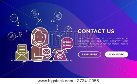 Contact Us Thin Line Icons: Call Center Operator In Headset Is Answering On Email And Phone Call. Mo