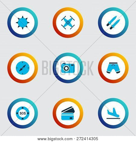 Tourism Icons Colored Set With Plane Landing, The Sun, Credit Card Lifeguard Elements. Isolated Vect