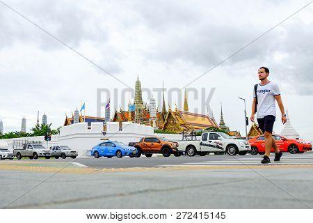 Bangkok, Thailand - August 17, 2018 : Beautiful Grand Palace & Wat Phra Keaw (wat Phra Sri Rattana S