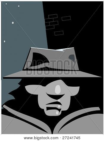 Private detective in street at night.