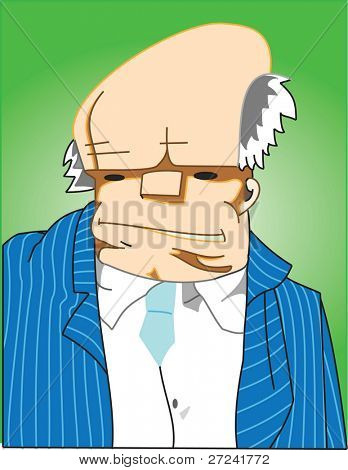 Business man with swollen head