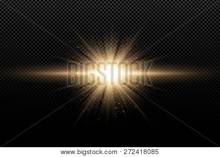 Golden Stylish Light Effect On A Dark Transparent Background. Golden Magical Rays And Flying Golden