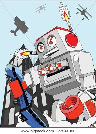 giant toy robot destroys city