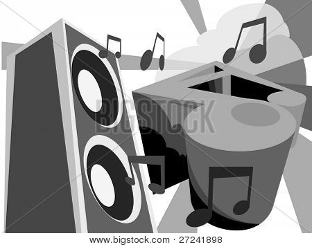 speaker and musical notes in a graffiti style