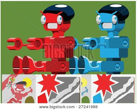 two toy robots sit on a shop shelf waiting for christmas