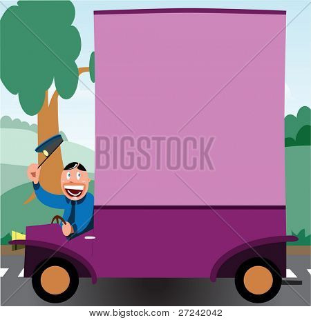 Cartoon postman or delivery driver with van in a countryside setting