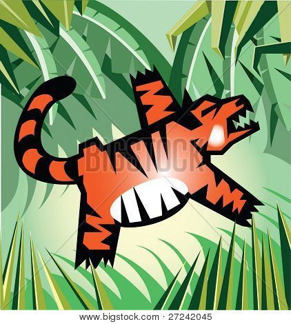 Tiger leaps in the jungle.