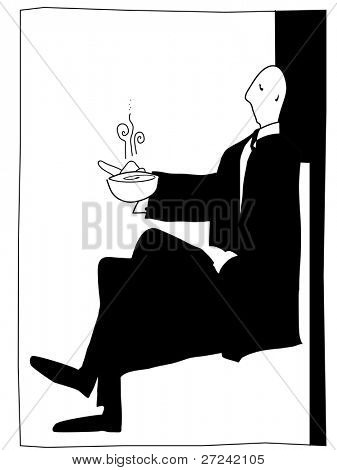 posh gentleman enjoys a hot drink in a simple art deco style.