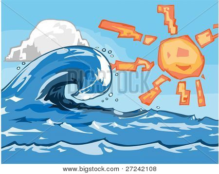 freehand vector of a large wave breaking on a sunny day.