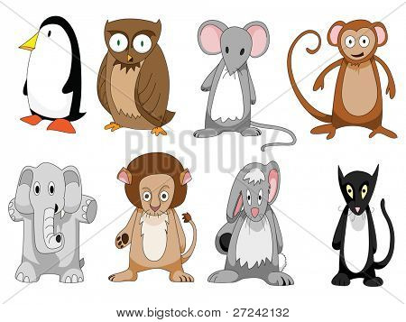 set of eight cute cartoon animals