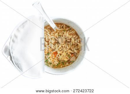 Noodle Soup In A Cup View From Top, Instant Noodles, Fast Food