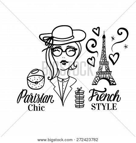 Parision Chic Lettering Type. French Style Woman Fashion Black Illustration Woman. Vector Hand Sketc