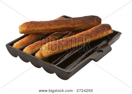 Cornbread Sticks In Antique Pan